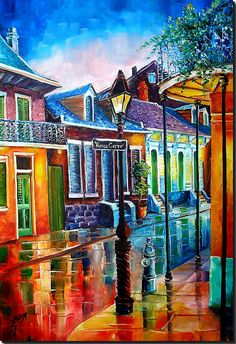 Life After Dark in the Vieux Carre'    New Orleans Art by Diane Millsap