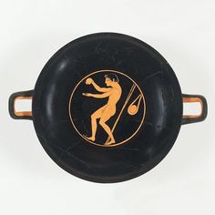 This is what an Olympic athlete's post-workout ritual may have looked like circa 510 B.C! On the inside of this drinking cup, a nude young athlete pours oil in his left hand from an aryballos (a flask made to hold perfume or oil). Behind him is a discus.