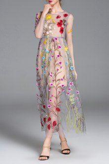 Prezzi e Sconti: #Floral maxi sheer swing dress Blueoxy  ad Euro 68.48 in #Blueoxy #Dresses