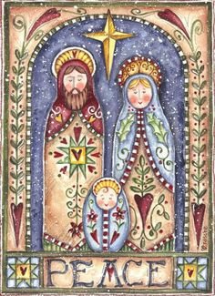 Jesus Holy Family ~ Peace Nativity by Shelly Rasche ~ folk art