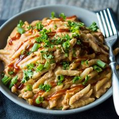 Let's break the rules! Make this sweet, smokey, and creamy BBQ chicken pasta in your slow cooker! Perfect, easy weeknight meal!