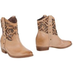 Julie Dee Ankle Boots ($177) ❤ liked on Polyvore featuring shoes, boots, ankle booties, sand, two tone leather boots, studded ankle boots, round toe booties, leather booties and genuine leather boots