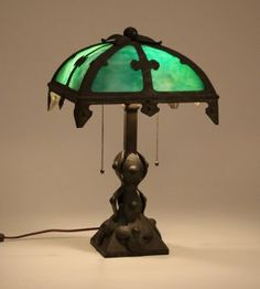 Arts & Crafts Iron & Slagglass Lamp C1910