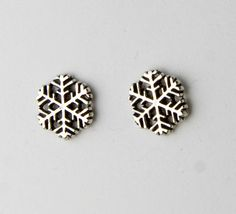 Large Snowflakes Sterling Silver Post Earrings by JanPalomboDesign