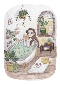 Selbstpflege - Kunstdruck - Art, Drawings and Doodles - Care Art And Illustration, Illustrations, Life Image, Guache, Love Art, Self Care, Art Inspo, Watercolor Art, Art Drawings