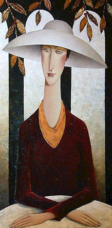 Lady in a White Hat, by Danny McBride Joe Cocker, Amedeo Modigliani, Danny Mcbride, Beautiful Paintings, Face Art, Figurative Art, Art Pictures, Hats For Women, Collage Art
