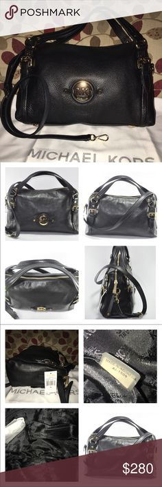 """NWT Michael Kors Medium Stockard Bag New Michael Kors Medium Stockard in  Black Pebbled Leather with Gorgeous  Gold Hardware! It's Logo lined, 1 zip, multiple slip pockets, adjustable yet detachable strap with dog leash clasp for the option of Shoulder to Crossbody action! Strap drop is 17.5+ double handle drop is 4"""" this beauty measures 14 X 9 X 4 dust bag included 🚫no trade price firm🚫 MICHAEL Michael Kors Bags Shoulder Bags"""