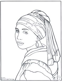 "Girl with a pearl earring colouring page. Previous Pinner said ""Plástica - Cuadros famosos para colorear"""