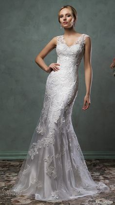 amelia sposa 2016 wedding dresses beautiful cap sleeves v scallop neckline embroidered silver white fit flare mermaid dress pia