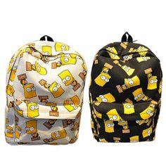 Hot-sale Cartoon Simpson Printting Backpacks Canvas for Girls/Boys Students School Shoulder Bag