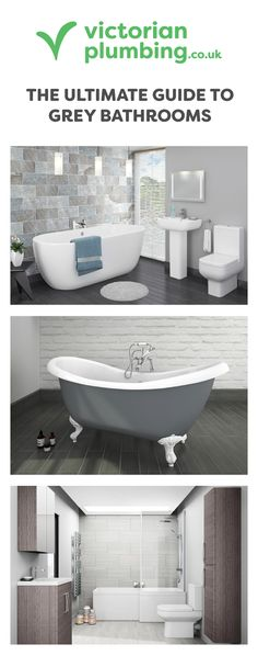 Grey is quickly becoming the colour of choice when it comes to bathroom styling. Get ideas, inspiration and trends in this Victorian Plumbing buying guide. Bathroom Styling, Bathroom Ideas, Grey Bathrooms, Plumbing, Tiles, Bathtub, Victorian, Colour, Inspiration