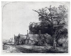 The Three Cottages (etching) by Rembrandt van Rijn, 1650.