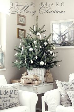 White Christmas - Christmas tree in a basket Small Christmas Trees, Cottage Christmas, Coastal Christmas, Noel Christmas, Country Christmas, White Christmas, Beach Christmas, Christmas Mantles, Christmas Villages