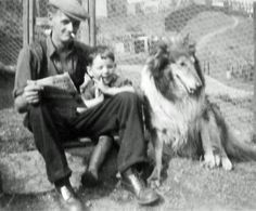 Cwmparc, Rhondda Cynon Taf. Welsh collier: Emlyn Jones, his young son and their Rough Coated Collie, about 1952/3. Emlyn was amongst the 128 miners who occupied the Parc Colliery in the Stay Down Strike of 1935.
