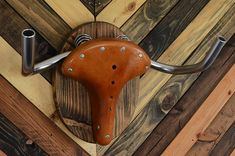 """Bicycle Rack Taxidermy -- """"The Highland"""" Wood Bike Wall Display -- Unique Cycle Storage Mount -- Bicycle Home Decor Cyclist Bike Gift Bicycle Storage, Bicycle Rack, Bicycle Seats, Wood Bike, Leather Bicycle, Recycled Bike Parts, Wall Mount Bike Rack, Bike Hanger, Quilt Storage"""