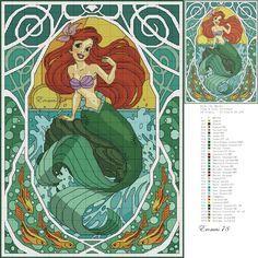 Disney Little Mermaid - Ariel Cross Stitch Pattern Disney Cross Stitch Patterns, Cross Stitch For Kids, Just Cross Stitch, Cross Stitch Needles, Beaded Cross Stitch, Crochet Cross, Cross Stitch Charts, Cross Stitch Designs, Cross Stitch Embroidery