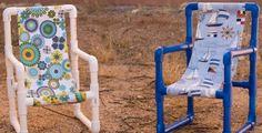 Cadeira infantil de tubos de PVC é diferente, mas fácil de ser feita (Foto: quelinda-crafts.blogspot.com.br)