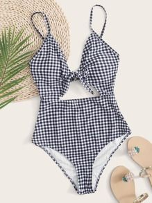 Gingham Tie Front One Piece Swimsuit Multicolor Cute   Polyester Gingham   High Stretch  One-Pieces size features are:Bust: Length:  Sleeve Length: