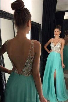 Open Back Prom Dresses #OpenBackPromDresses, Prom Dresses Chiffon #PromDressesChiffon