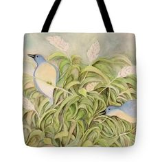 """Bluebirds And Pampas Grass Tote Bag (18"""" x 18"""") by Sand And Chi  .  The tote bag is machine washable, available in three different sizes, and includes a black strap for easy carrying on your shoulder.  All totes are available for worldwide shipping and include a money-back guarantee."""