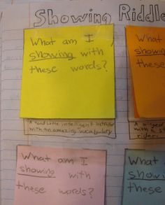 """My sixth graders did """"Showing Riddles,"""" which is a lesson at my website, in their writer's notebooks.  Here is Max's riddle, which I believe he wrote to better his grade chances.  Click here to see the answer to his riddle: http://www.pinterest.com/pin/450852612667959194/"""
