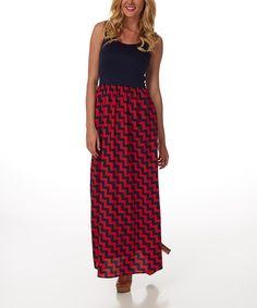 Look at this #zulilyfind! Navy Blue & Red Zigzag Maxi Dress by Pinkblush #zulilyfinds
