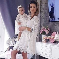 FeiTong Vintage white lace dress women Overlay o neck autumn white dress 2018 High waist sexy embroidery mini dress vestidos Mommy Daughter Dresses, Mother Daughter Matching Outfits, Mother Daughter Fashion, Mommy And Me Outfits, Mom Dress, Baby Dress, Baptism Dress For Mom, Dress Long, Girls White Lace Dress