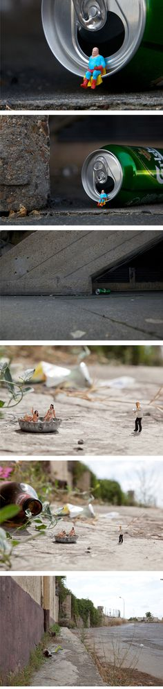 This is proof that great art is all around us, you just have to look for it… and try not to squish it with your shoe. London street artist Slinkachu has a series called Little People in which tiny 'little hand-painted people are left in London to fend for themselves'.