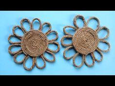 How to Make a Easy Decorative Twine / Jute Flower ! Burlap Rug, Burlap Cross, Twine Flowers, Fabric Flowers, Twine Crafts, Fall Arts And Crafts, Burlap Projects, Handmade Jewelry Designs, Jute Twine