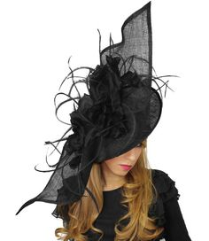 Elisaveta Black Fascinator Hat for Weddings, Kentucky Derby and Special Events With Headband( in 30 colours)
