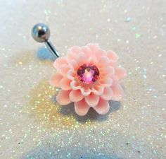 Cute belly button ring, pink dahlia flower bellybutton jewelry 14ga   YOUniqueDZigns - Jewelry on ArtFire