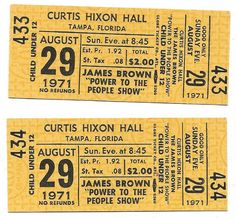 James Brown Concert Ticket Piece Of Music, Power To The People, James Brown, Concert Tickets, The Fool, Yellow
