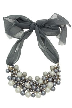 Pearl And Ribbon Statement Necklace