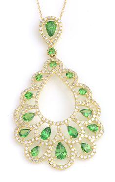 Green Tsavorite Garnet Gemstone Necklace in Yellow Gold. Item #368-101416 2.69 ctw Tsavorite Garnet Multi-shape & 1.41 ctw Diamond Round 14K Yellow Gold Pendant Length 18 - Gem Shopping Network