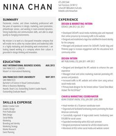 nina chan resume resume design marketing sample resumejob