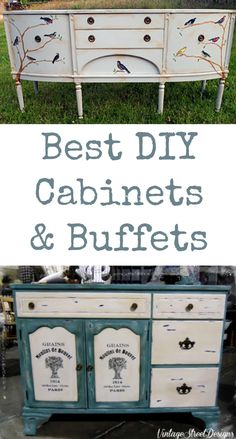 Best DIY Cabinet and Buffets! Lots of great painted, decoupaged and transferred furniture pieces, perfect for Dining rooms and kitchens!