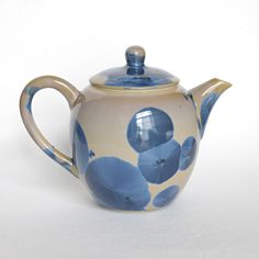Pearly blue and brown teapot -