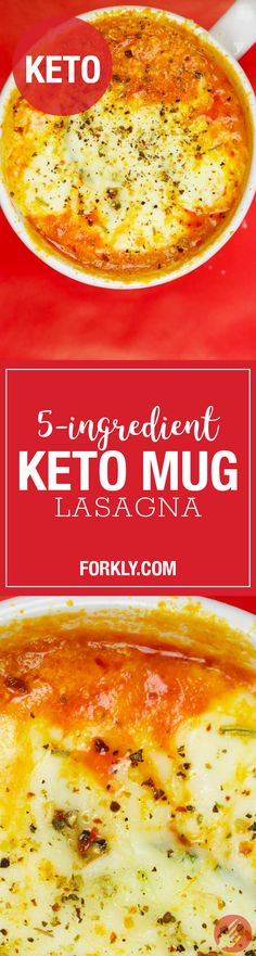 """5-Ingredient Keto Mug Lasagna: We have turned a comfort-food staple and keto-diet """"no-no"""" – lasagna – into a recipe that can easily be added to your meal rotation."""