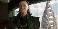 Loki...looks as though he's about to burst into evil laughter. Loki was supposed to be completely serious and angry in that scene but Tom Hiddleston just couldn't stop laughing because he thought RDJ was so funny :)