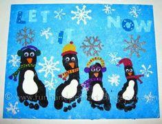Christmas Penguin footprint art for kids