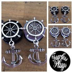 Ship+Wheel+Anchor+Dangle+Plugs+by+FearlessPlugs+on+Etsy,+$20.00