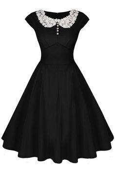 1950s dresses, 50s dresses | 1950s style dresses Audrey Hepburn black dress with white lace collar.