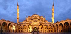 Sunset, sunsets, Countries, Near East, Middle East, Places to Visit, Attractions, Bombay Outdoors, Inspiring, Shapes, Architecture, Turkey, Istanbul, Sultan Ahmed Mosque, Blue Mosque, courtyard, spires
