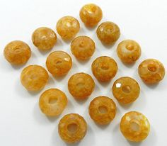 5PC! Gorgeous Natural Yellow Aventurine Facet Big Hole/Space Wholesale Lot Beads #Shininggems #Faceted