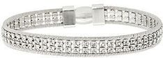 Italian Jewelry Collection Italian Silver Sterling Double Row Crystal Tennis Bracelet