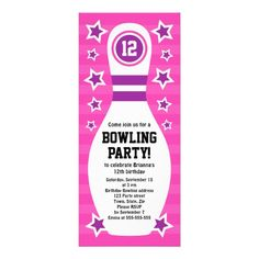 Girls Bowling Birthday Party Invitation Template Digital File On