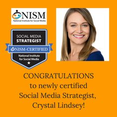 Please join us in Congratulating, Crystal Lindsey, of 333 Social Media on successfully achieving her Social Media Strategist (SMS) certification!
