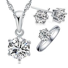 SALE $25.1 - JEXXI 925 Sterling Silver Bridal Jewelry Sets For Women Accessory Cubic Zircon Crystal Necklace Rings Stud Earrings Set Gift