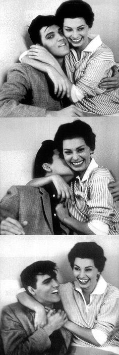 Elvis Presley and Sophia Loren ~ enjoying a Laugh Together.