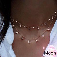 Mode Multilayer Choker Halskette Stern Mond Kette Gold Frauen Sommer Schmuck Source by shopdevi Dainty Jewelry, Cute Jewelry, Gold Jewelry, Jewelry Necklaces, Women Jewelry, Gold Bracelets, Jewellery Holder, Jewelry Ads, Horse Jewelry